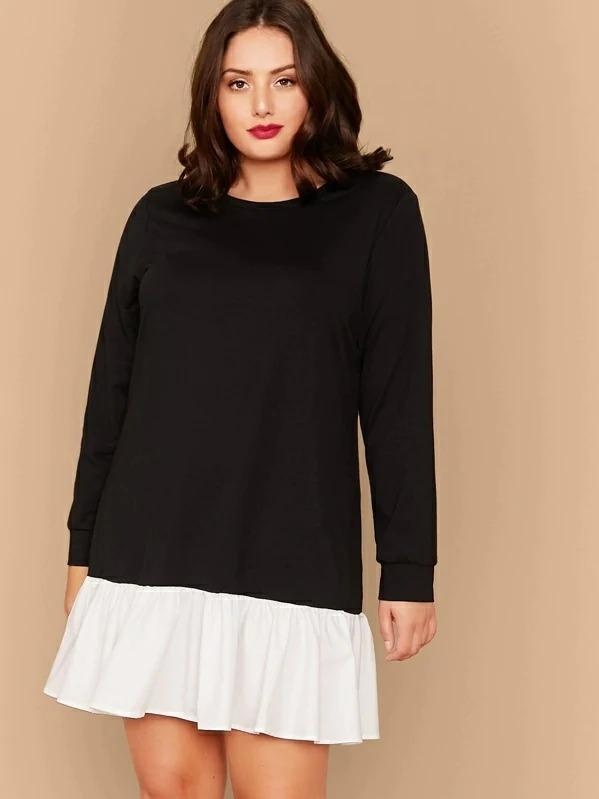Plus Contrast Flippy Hem Sweatshirt Dress
