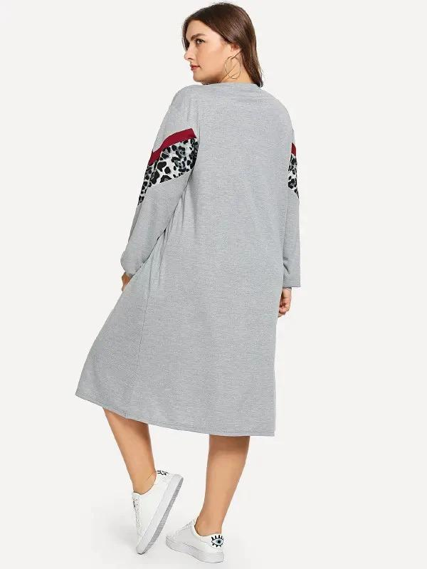 Plus Contrast Leopard Sweatshirt Dress