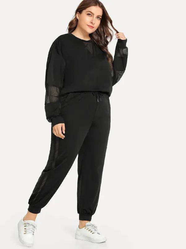Plus Contrast Mesh Sweatshirt With Drawstring Pants