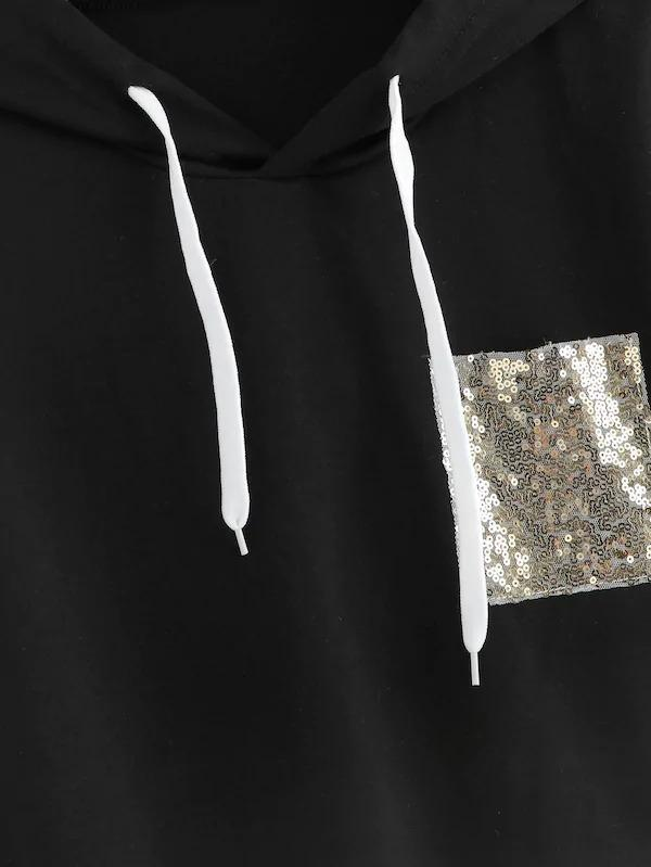 Plus Contrast Sequin Hooded Sweatshirt