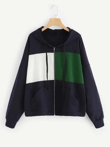 Plus Cut-And-Sew Zip Up Hooded Sweatshirt