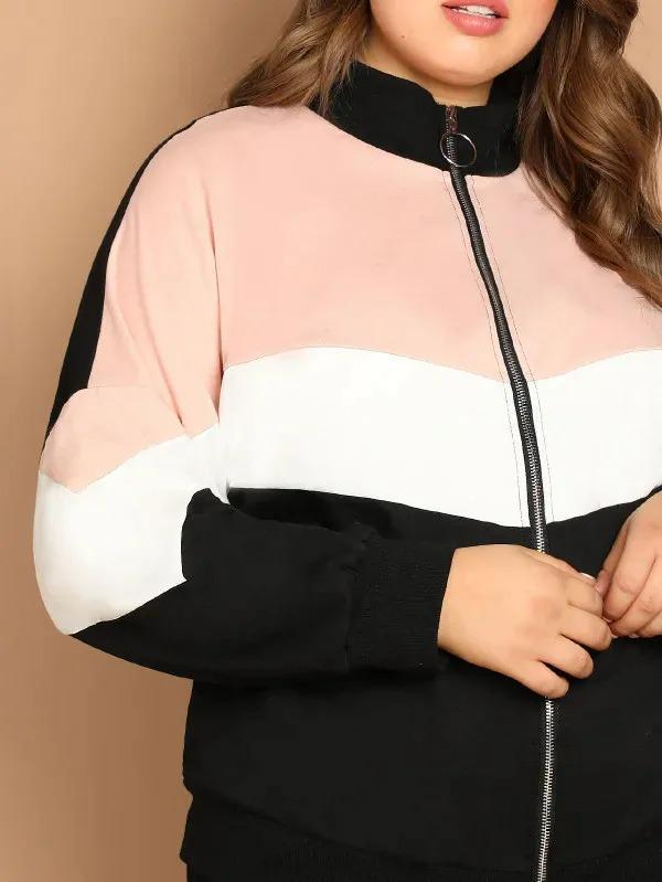 Plus Cut-And-Sew Zip Up Sweatshirt