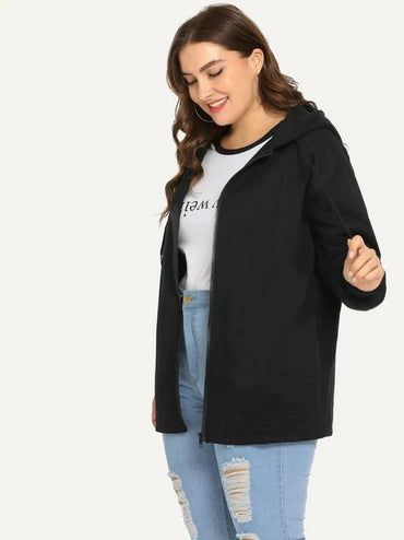 Plus Drawstring Detail Hooded Coat