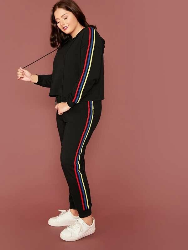 Plus Drawstring Detail Striped Side Hoodie & Sweatpants Set