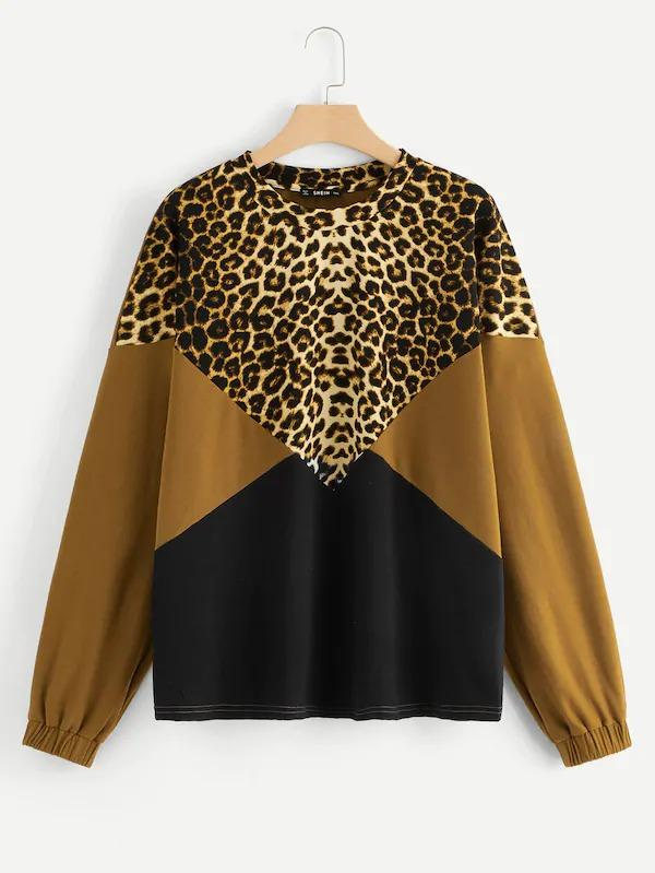 Plus Drop Shoulder Color-Block Leopard Pullover