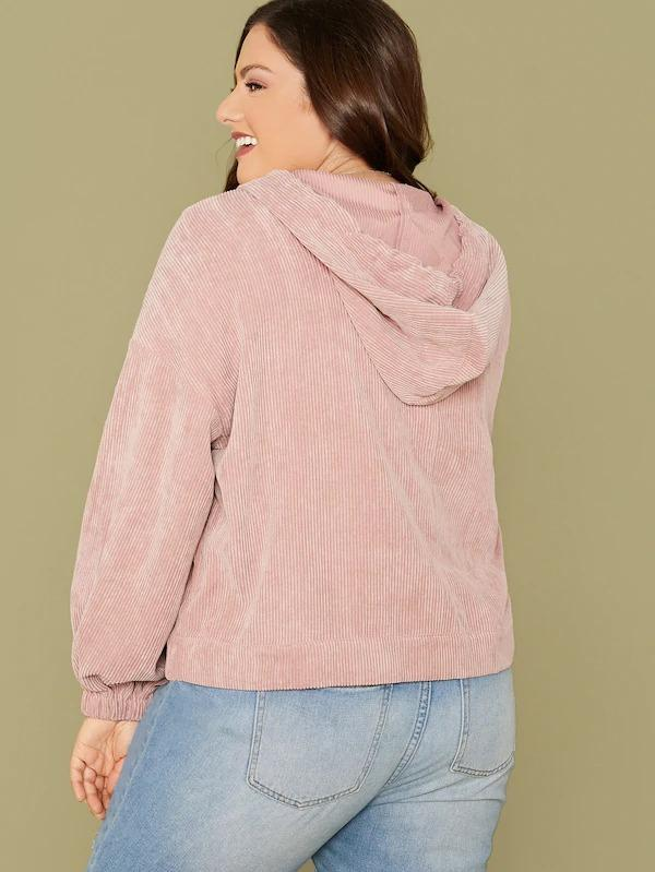 Plus Drop Shoulder Corduroy Drawstring Hoodie