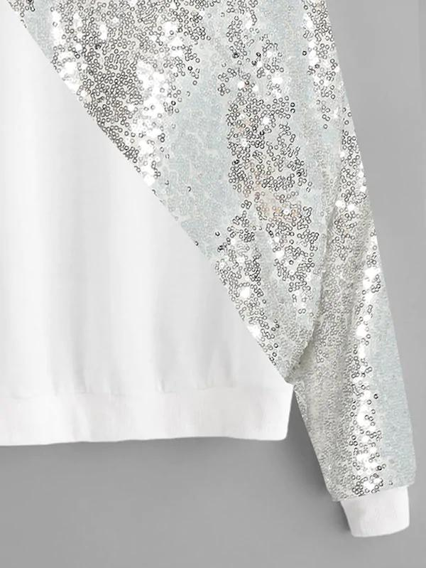 Plus Drop Shoulder Sequin Panel Sweatshirt