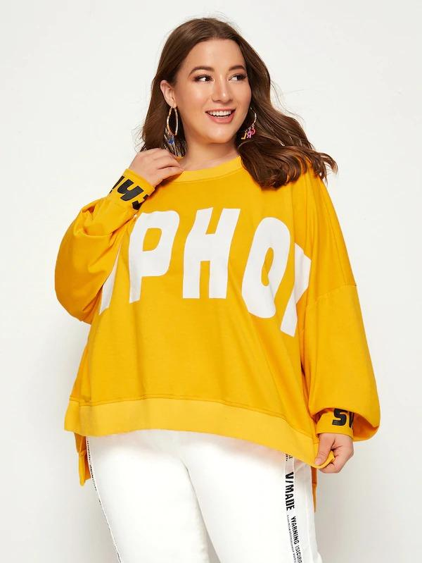 Plus Drop Shoulder Split Side Letter Print Pullover