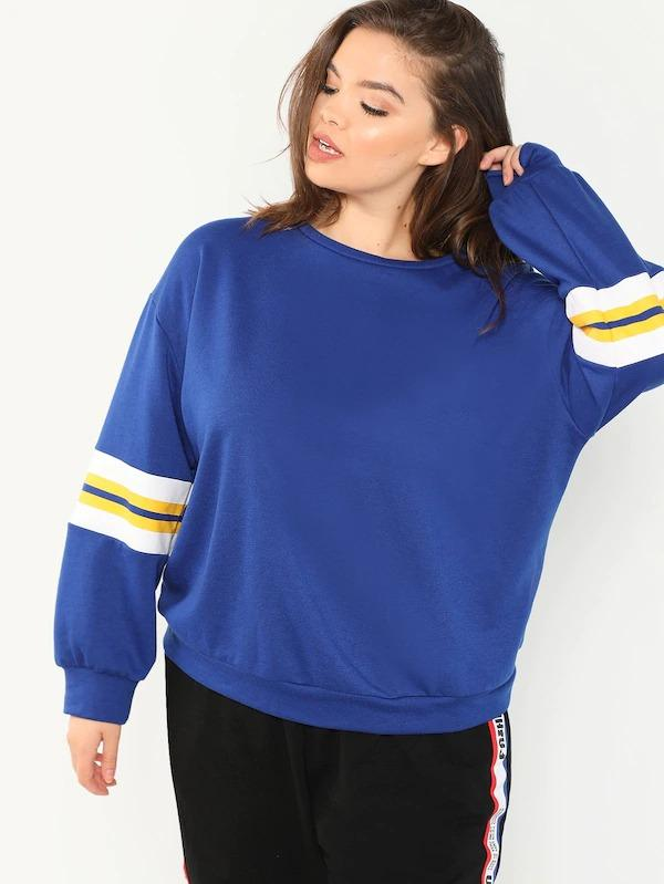Plus Drop Shoulder Striped Sleeve Pullover