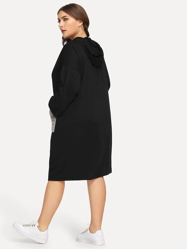 Plus Dual Pocket Sweatshirt Dress
