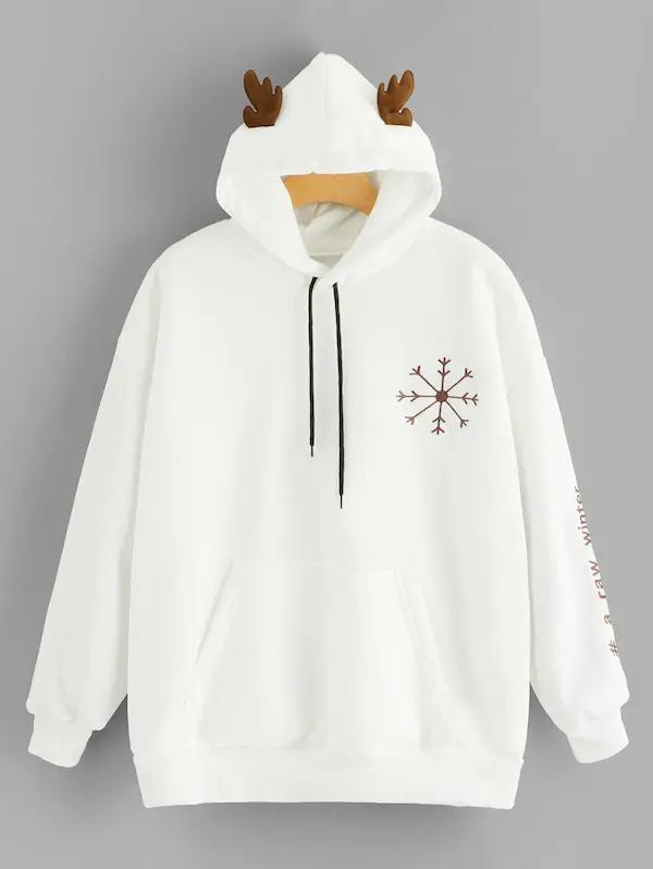 Plus Embroidered Drawstring Hooded Sweatshirt