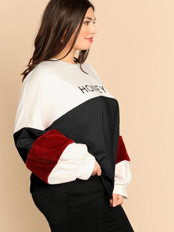 Plus Faux Fur Insert Sleeve Cut-And-Sew Letter Pullover