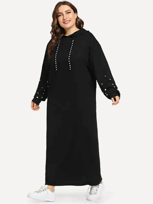 Plus Faux Pearl Beaded Longline Hooded Dress