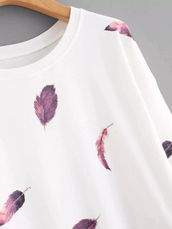 Plus Feather Print Sweatshirt