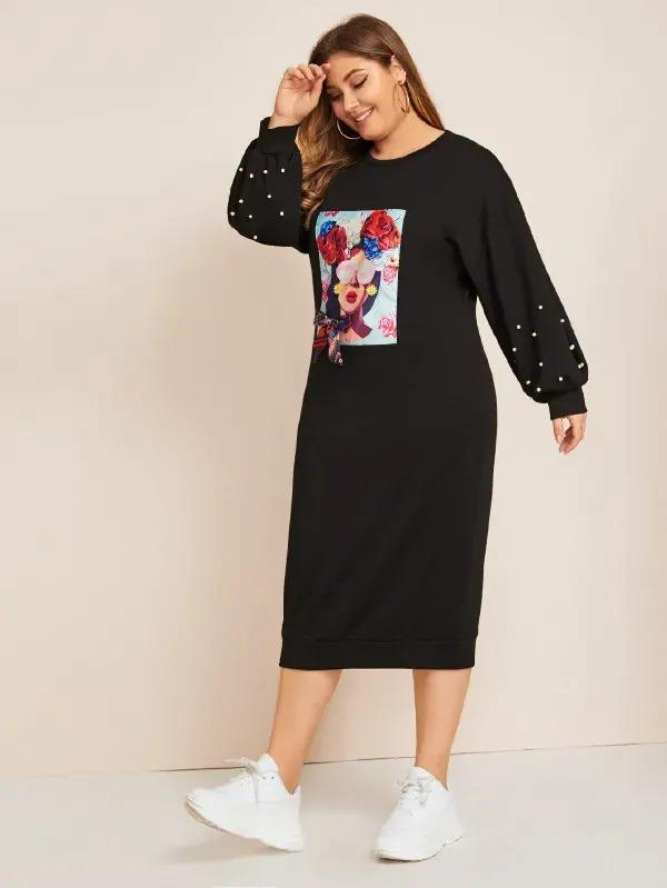 Plus Figure Print Beaded Bow Front Sweatshirt Dress