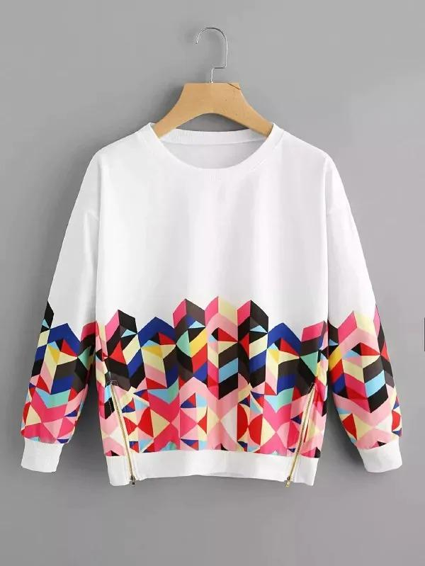 Plus Geo Print Zip Side Sweatshirt
