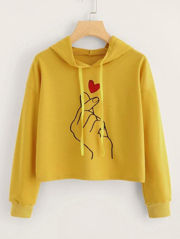 Plus Gesture & Heart Print Sweatshirt