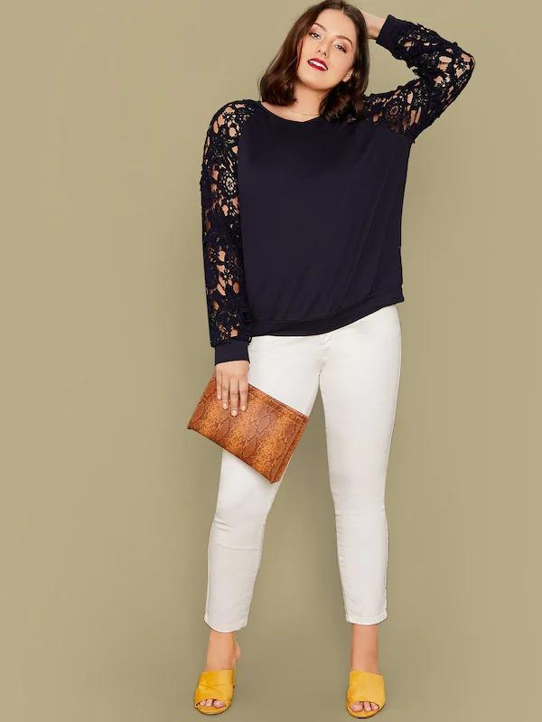 Plus Guipure Lace Sleeve Sweatshirt