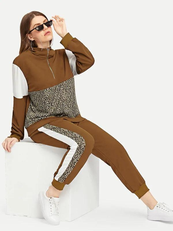 Plus Half Placket Color Block Hoodie & Sweatpants Set