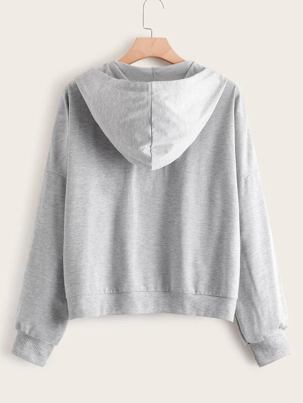 Plus Lace Up Pocket Front Hooded Sweatshirt