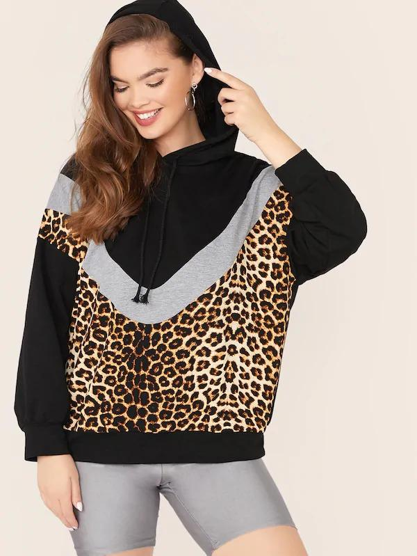 Plus Leopard Print Cut-And-Sew Drawstring Hoodie
