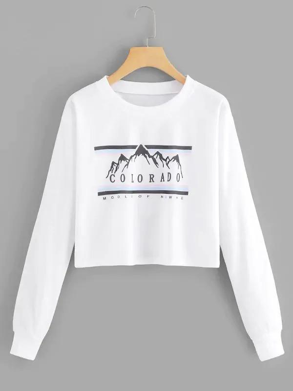 Plus Letter And Mountain Print Sweatshirt