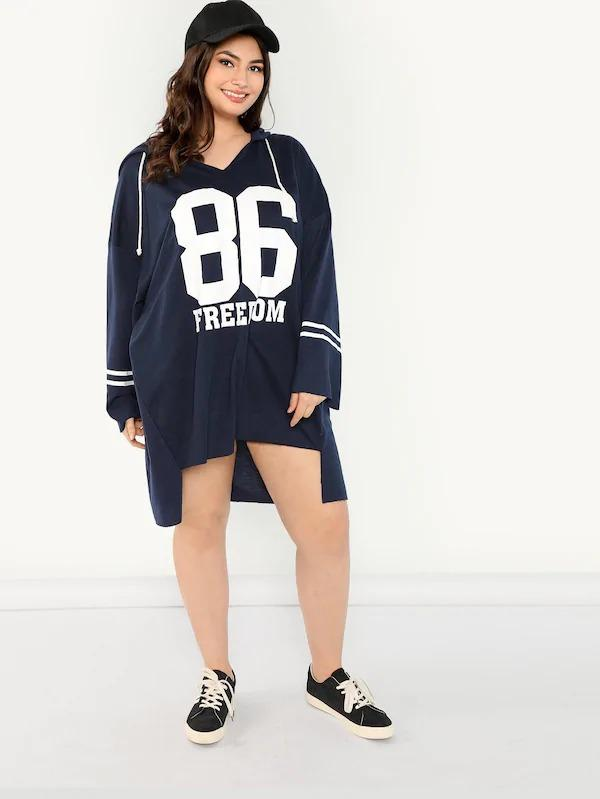 Plus Letter And Striped Longline Sweatshirt