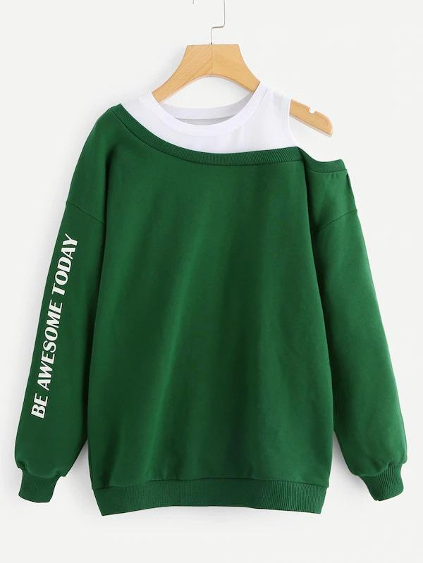 Plus Letter Print Open-Shoulder Sweatshirt