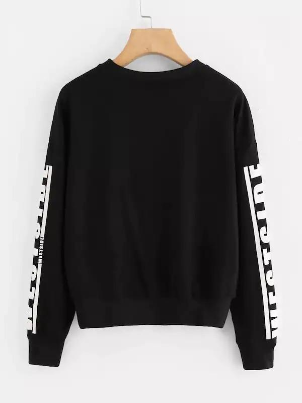 Plus Letter Print Sleeve Sweatshirt