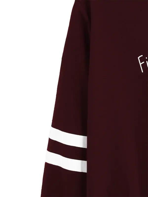 Plus Letter Print Varsity Striped Sweatshirt