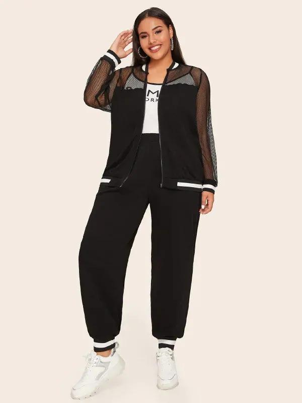 Plus Mesh Sheer Yoke Sweatshirt & Sweatpants Set