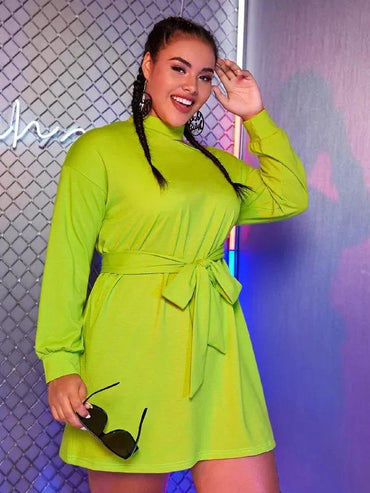 Plus Neon Lime Open Shoulder Sweatshirt Dress