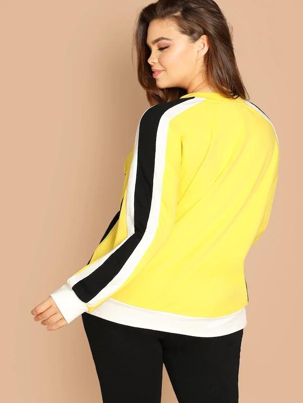 Plus Neon Yellow Color Block Pullover