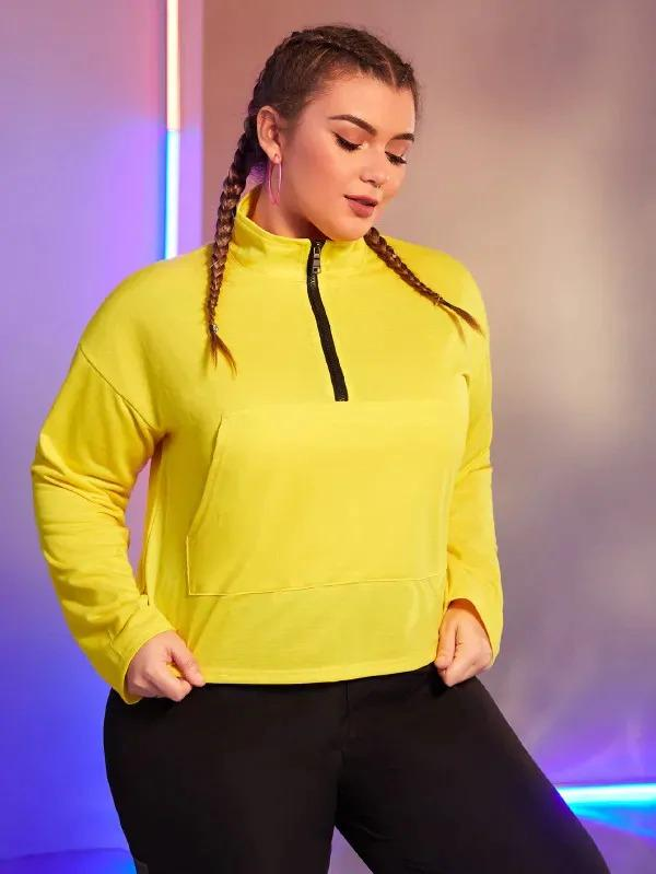 Plus Neon Yellow Half Zip Sweatshirt Without Bag
