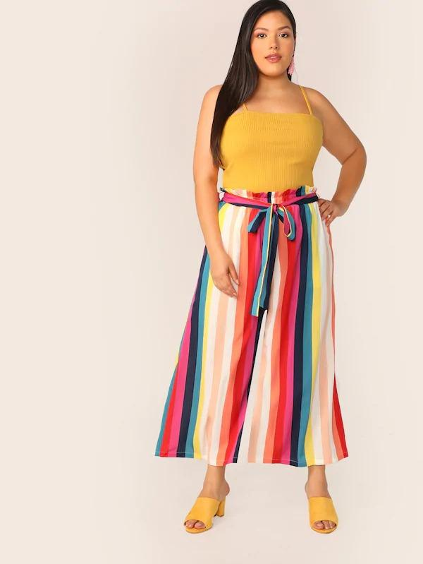 Plus Paperbag Waist Rainbow Stripe Belted Pants