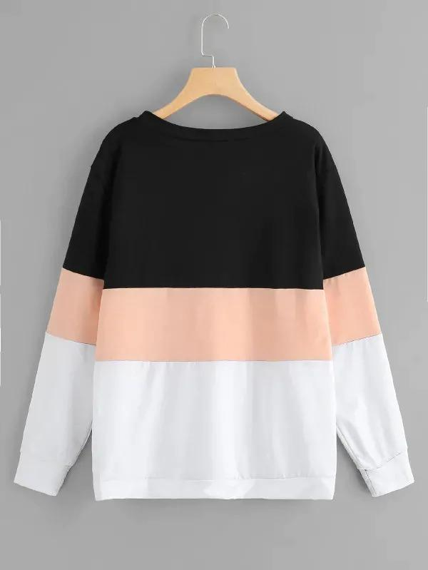 Plus Pearl Beaded Color Block Sweatshirt