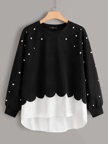 Plus Pearl Beaded Scallop Edge 2 In 1 Sweatshirt