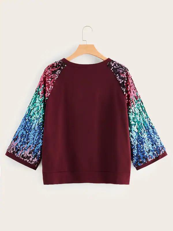 Plus Raglan Sequins Sleeve Pullover