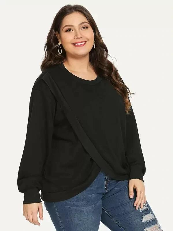 Plus Round Neck Overlap Sweatshirt