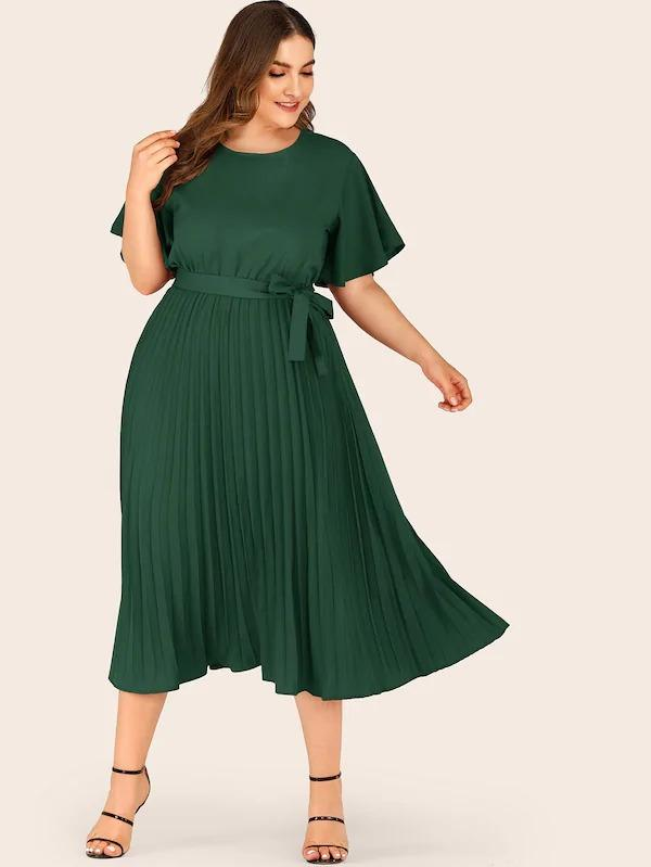 Plus Self Tie Butterfly Sleeve Pleated Dress