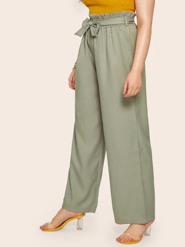 Plus Self Tie Paper Bag Wide Leg Pants