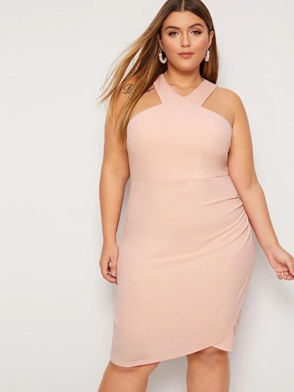 Plus Solid Wrap Hem Bodycon Halter Dress