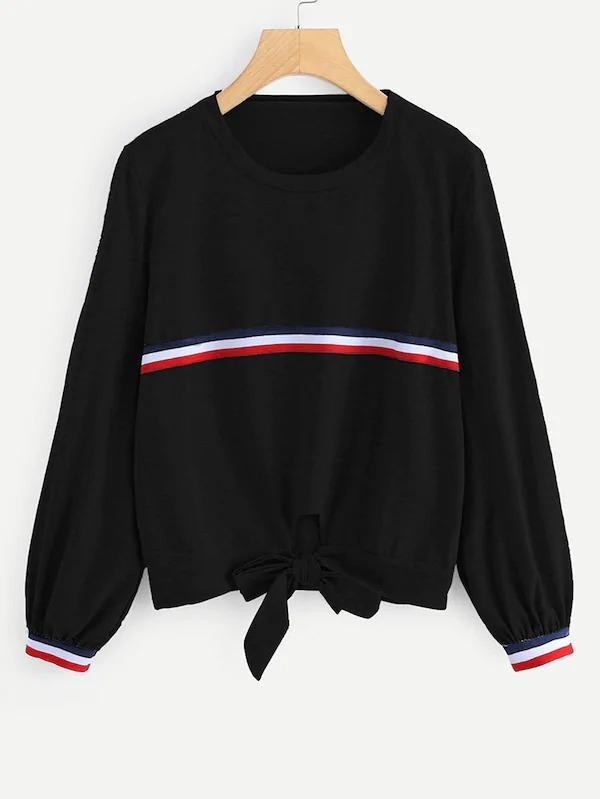 Plus Striped Knot Hem Sweatshirt