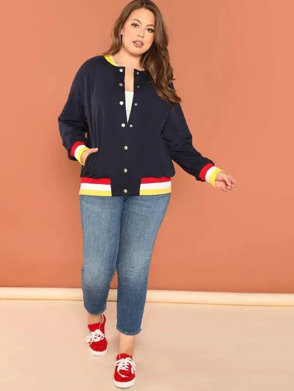 Plus Striped Trim Raglan Sleeve Sweatshirt