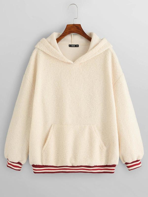 Plus Striped Trim Teddy Hoodie