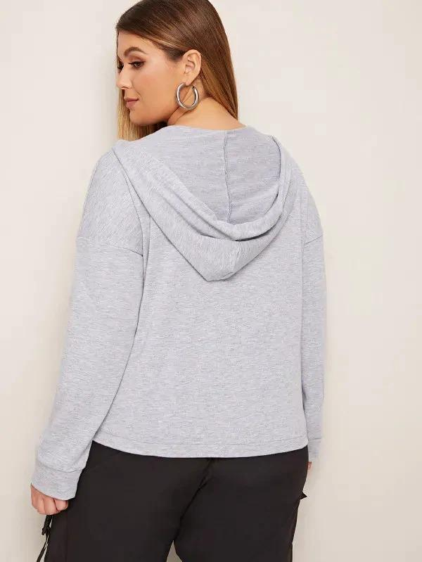 Plus Tight Hem Drawstring Hooded Sweatshirt
