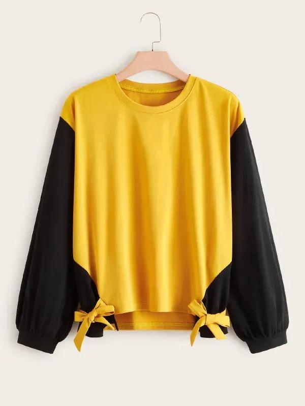 Plus Two Tone Tie Front Drop Shoulder Sweatshirt