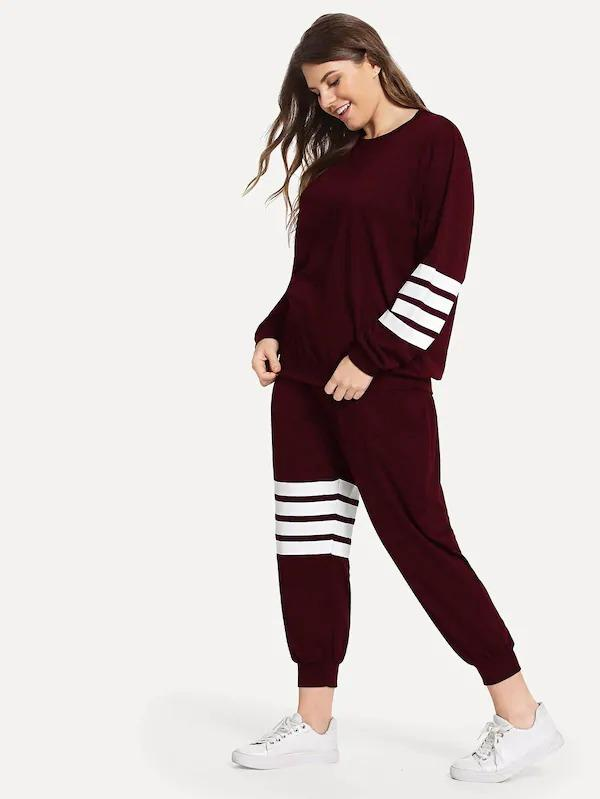 Plus Varsity Striped Sweatshirt With Sweatpants