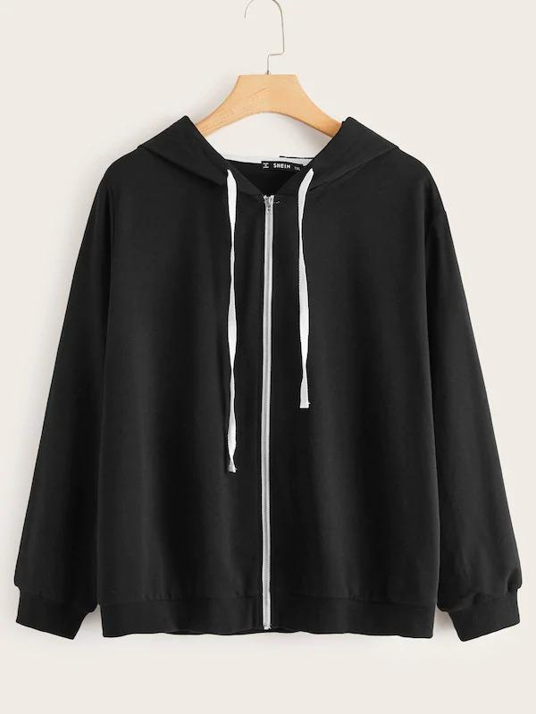 Plus Zipper Front Contrast Drawstring Hoodie