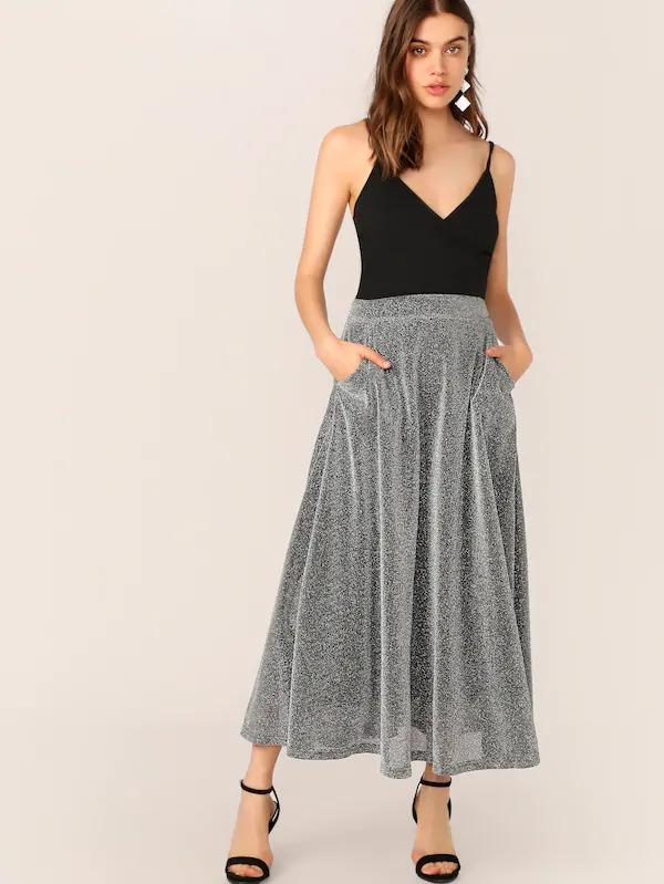 Pocket Detail Glitter Maxi Skirt